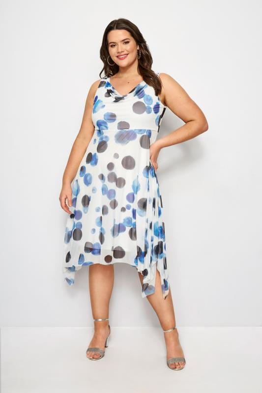 Plus Size Midi Dresses YOURS LONDON Blue Spot Midi Dress With Cowl Neck