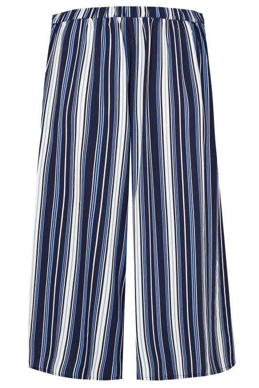 YOURS LONDON Blue Stripe Wide Leg Culottes