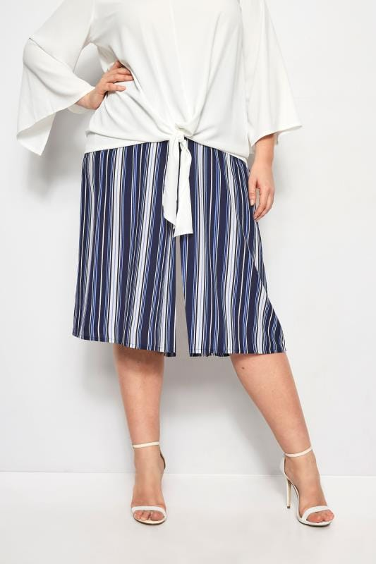 Plus Size Wide Leg & Palazzo Trousers YOURS LONDON Blue Stripe Wide Leg Culottes