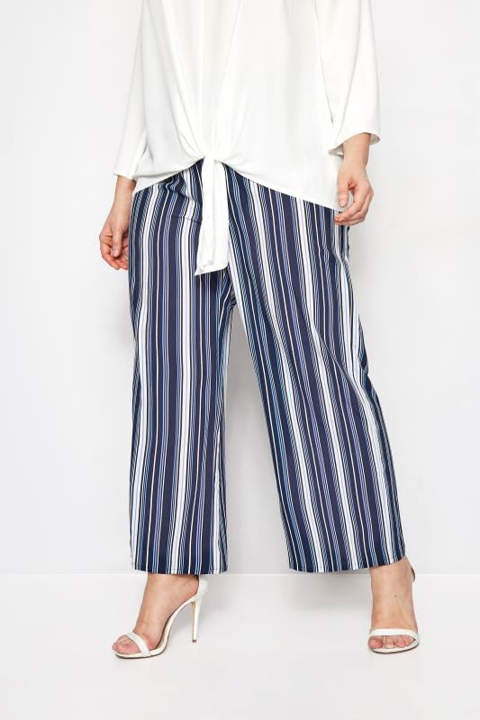 Plus Size Wide Leg & Palazzo Trousers YOURS LONDON Blue Stripe Wide Leg Trousers