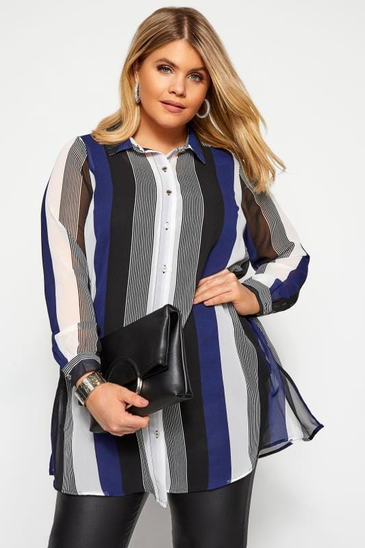Plus Size Blouses & Shirts YOURS LONDON Blue Striped Chiffon Shirt