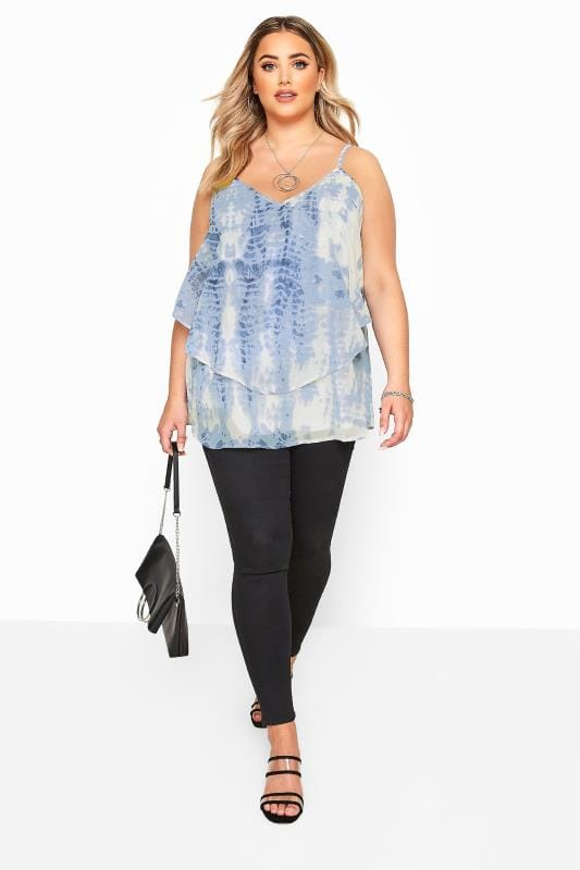 YOURS LONDON Blue Tie Dye Layered Cami Top