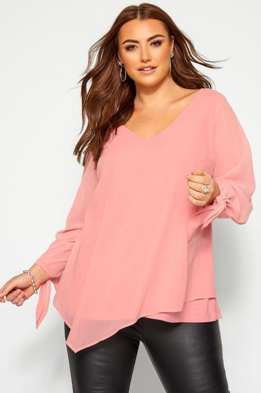 Plus Size Blouses YOURS LONDON Blush Pink Chiffon Tie Sleeve Blouse