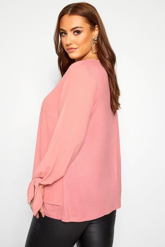 YOURS LONDON Blush Pink Chiffon Tie Sleeve Blouse