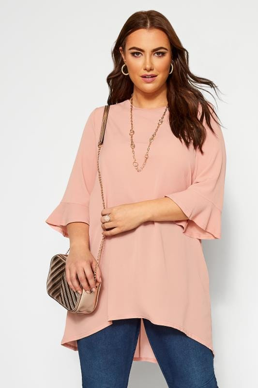 Plus Size Tunics YOURS LONDON Blush Pink Flute Sleeve Tunic