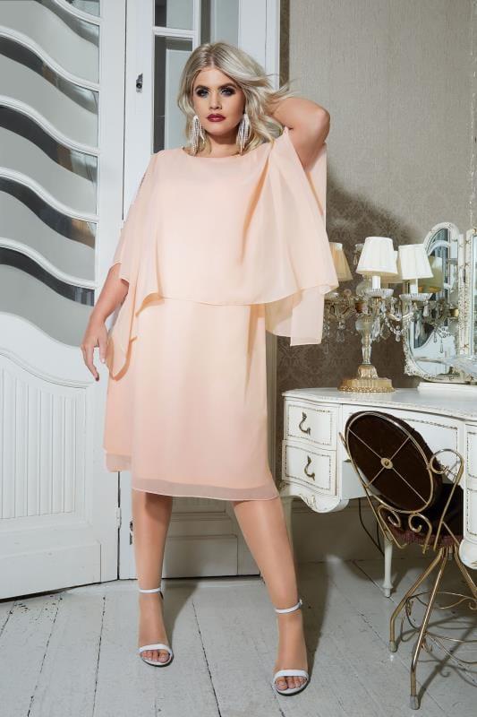 Sonderrabatt Abstand wählen Mode YOURS LONDON Puderrosa verziertes Cape-Kleid, Große Größen 44-60