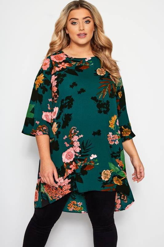 Plus Size Blouses YOURS LONDON Bottle Green Floral Print Longline Blouse