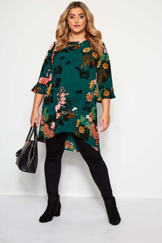 YOURS LONDON Lange Blumenbluse - Flaschengrün
