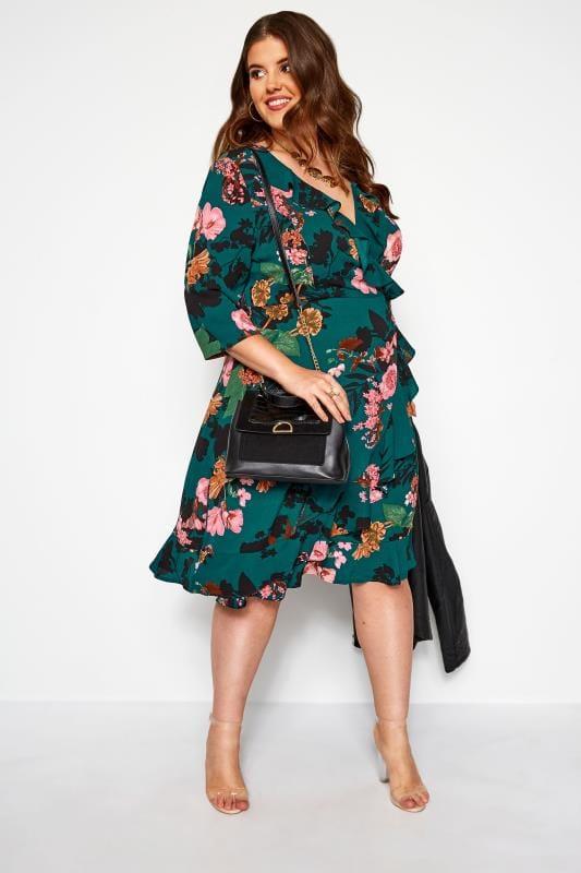 YOURS LONDON Bottle Green Floral Wrap Ruffle Dress