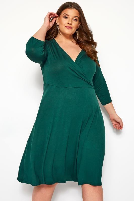 Plus Size Jersey Dresses YOURS LONDON Bottle Green Wrap Dress
