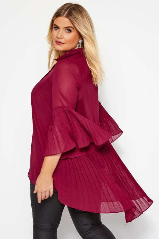 Plus Size Shirts YOURS LONDON Burgundy Pleated Chiffon Shirt
