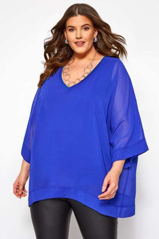 Plus Size Party Tops YOURS LONDON Cobalt Blue Chiffon Cape Top