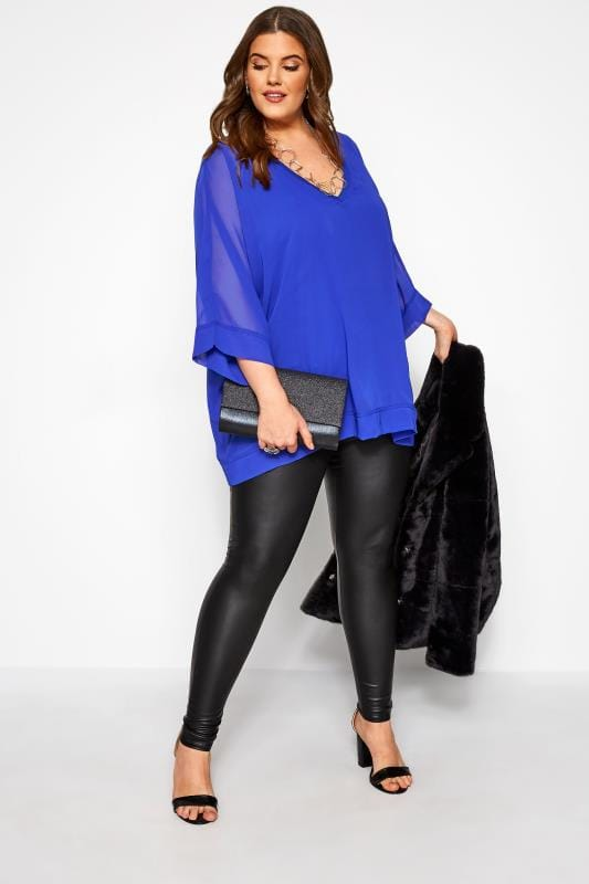 YOURS LONDON Cobalt Blue Chiffon Cape Top