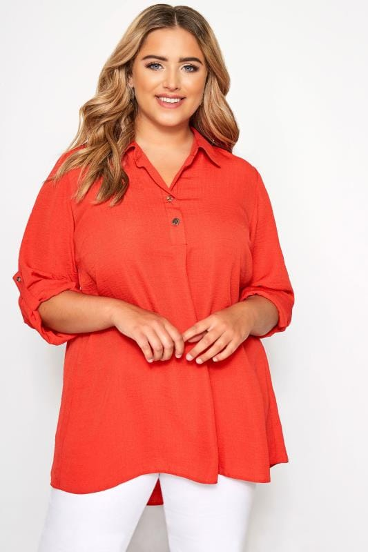 Plus Size Blouses & Shirts YOURS LONDON Dark Orange Overhead Shirt