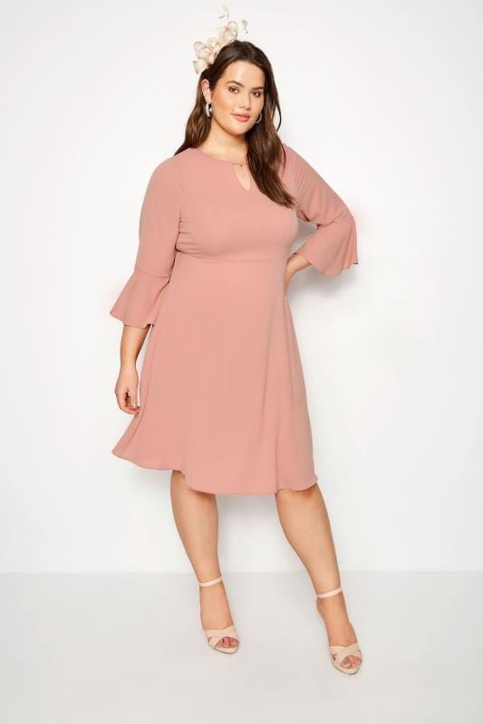 YOURS LONDON Dusky Pink Dress With Fluted Sleeves