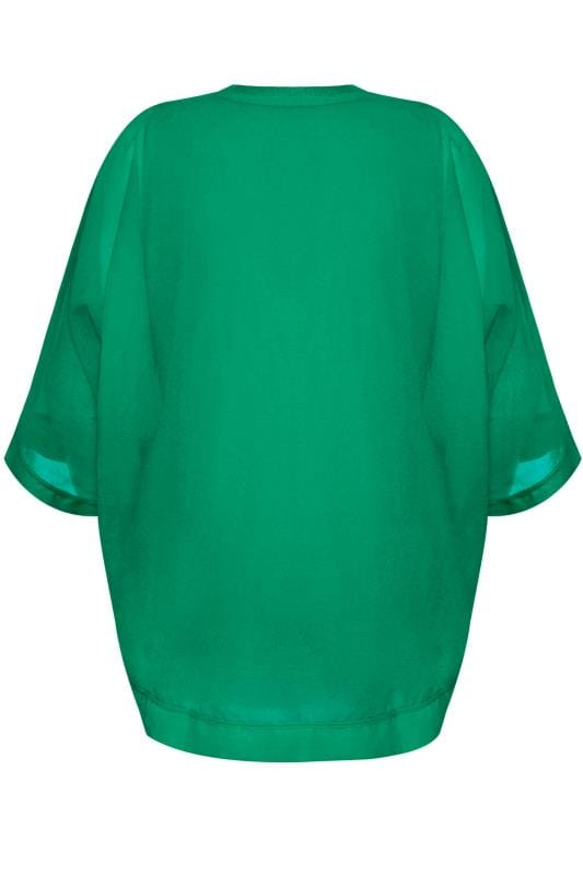 YOURS LONDON Green Chiffon Cape Top