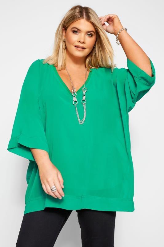 Plus Size Chiffon Blouses YOURS LONDON Green Chiffon Cape Top