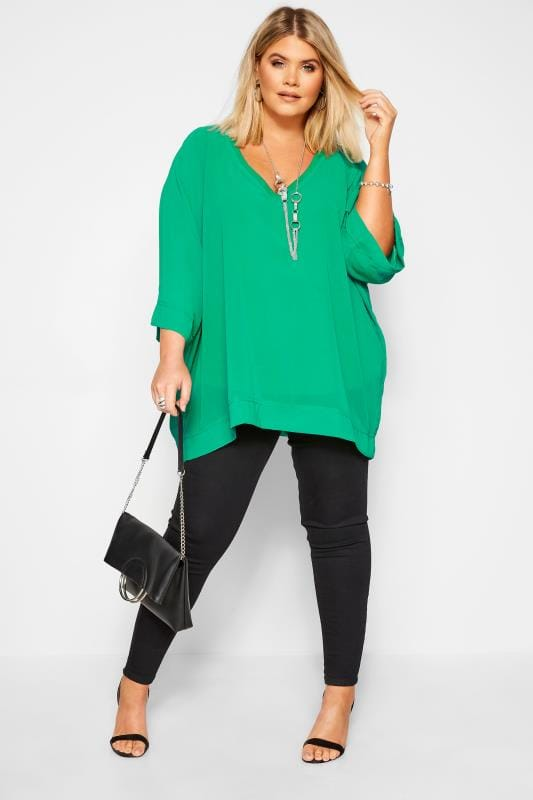 Plus Size Chiffon Blouses YOURS LONDON Green Chiffon Cape Top