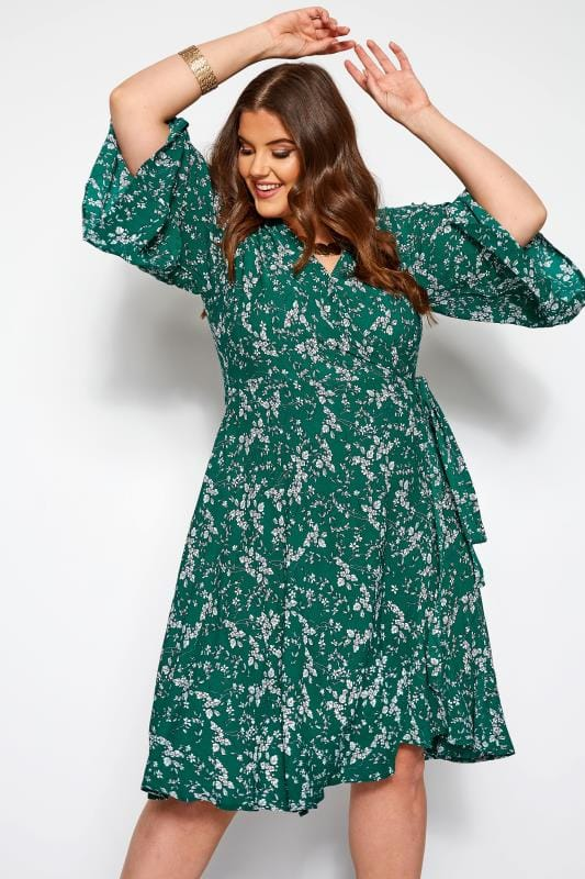 Plus Size Wrap Dresses YOURS LONDON Green Ditsy Floral Wrap Dress