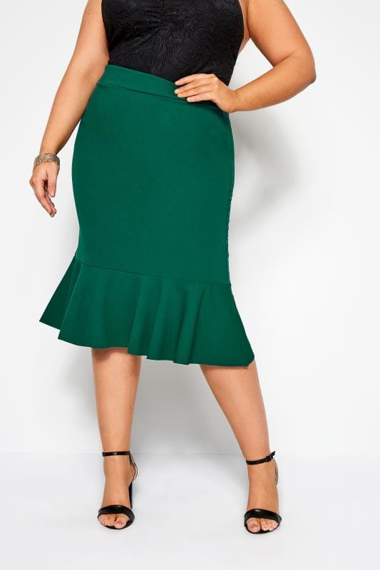 Plus Size Midi Skirts YOURS LONDON Green Fishtail Midi Skirt
