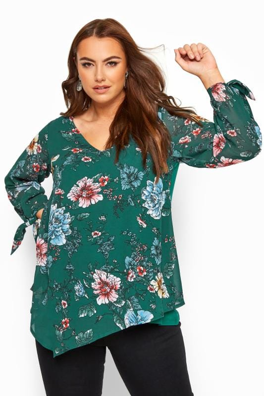 Plus Size Blouses YOURS LONDON Green Floral Chiffon Tie Sleeve Blouse
