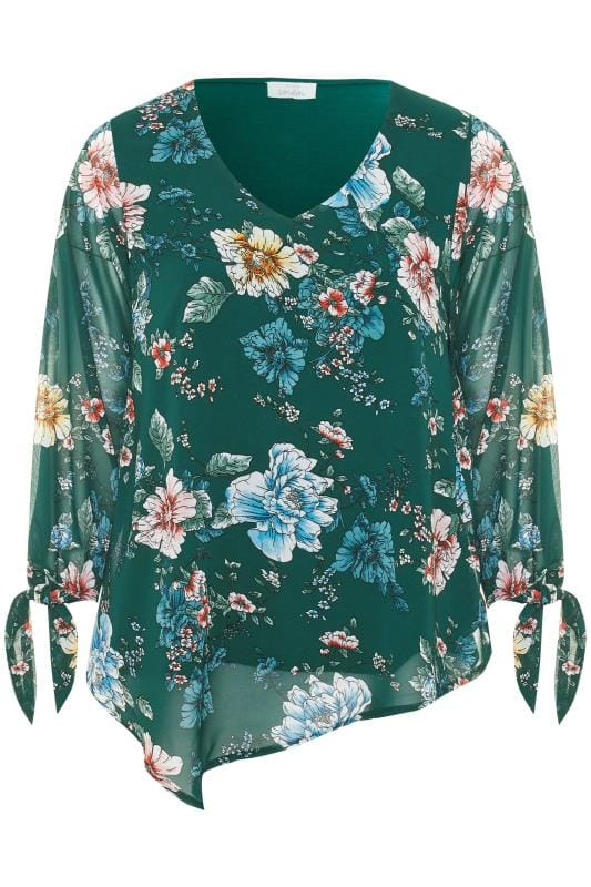 YOURS LONDON Green Floral Chiffon Tie Sleeve Blouse