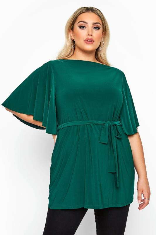 Plus Size Party Tops YOURS LONDON Green Slinky Belted Top