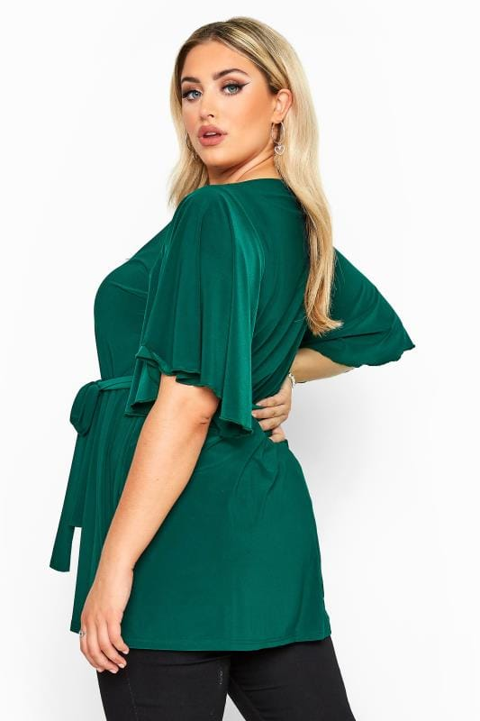 YOURS LONDON Green Slinky Belted Top