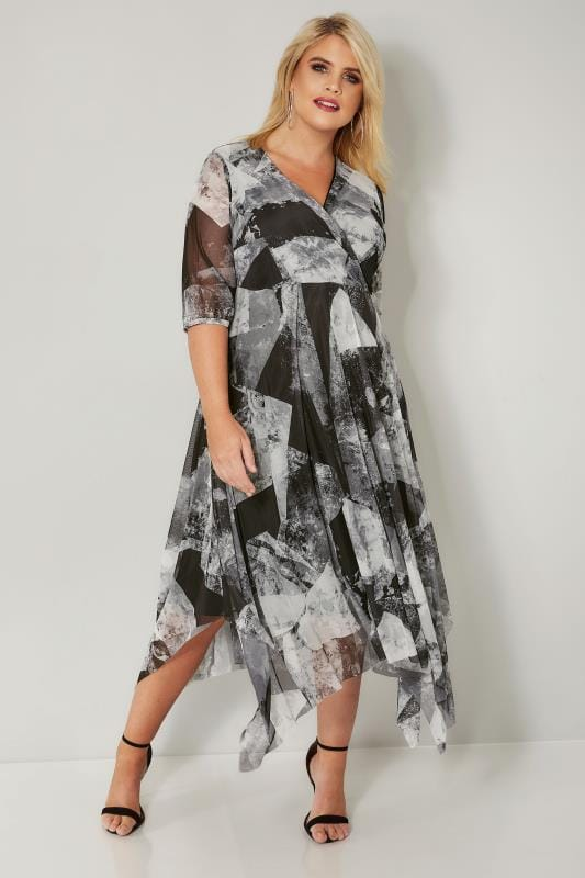 YOURS LONDON Grey & Black Mesh Midi Dress With Hanky Hem