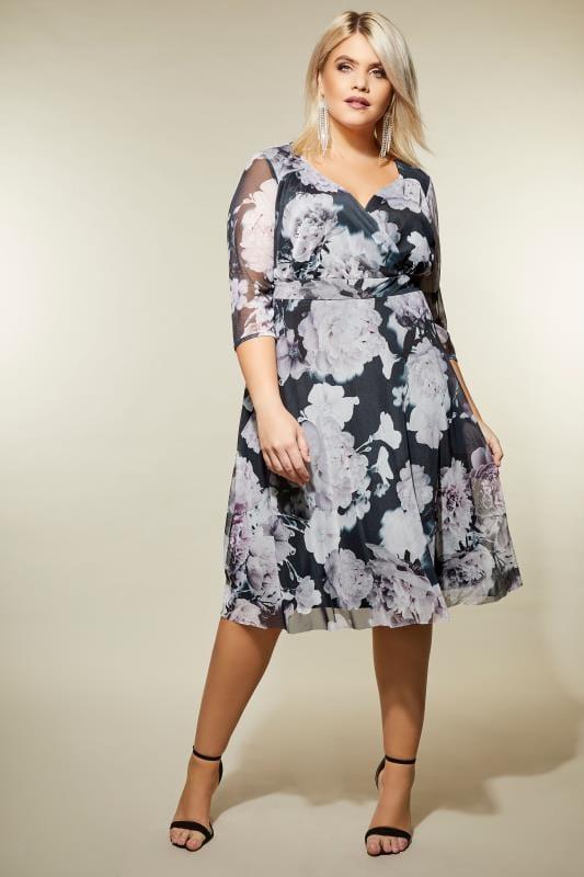 YOURS LONDON Grey & Dusky Purple Floral Wrap Dress