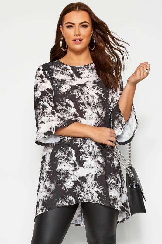 Plus Size Tunics YOURS LONDON Grey Marble Flute Sleeve Tunic