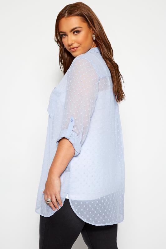 YOURS LONDON Light Blue Dobby Chiffon Shirt