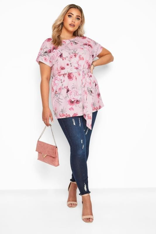 YOURS LONDON Light Pink Floral Belted Peplum Top