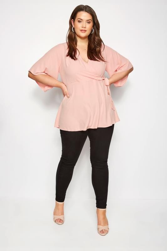YOURS LONDON Light Pink Wrap Blouse With Kimono Sleeves