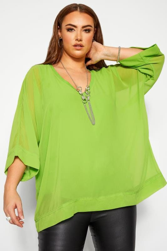 Chiffon Blouses Grande Taille YOURS LONDON Lime Green Chiffon Cape Top