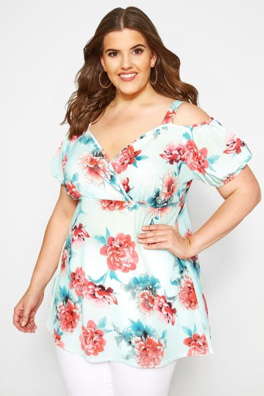 Plus Size Bardot & Cold Shoulder Tops YOURS LONDON Mint Floral Wrap Cold Shoulder Top