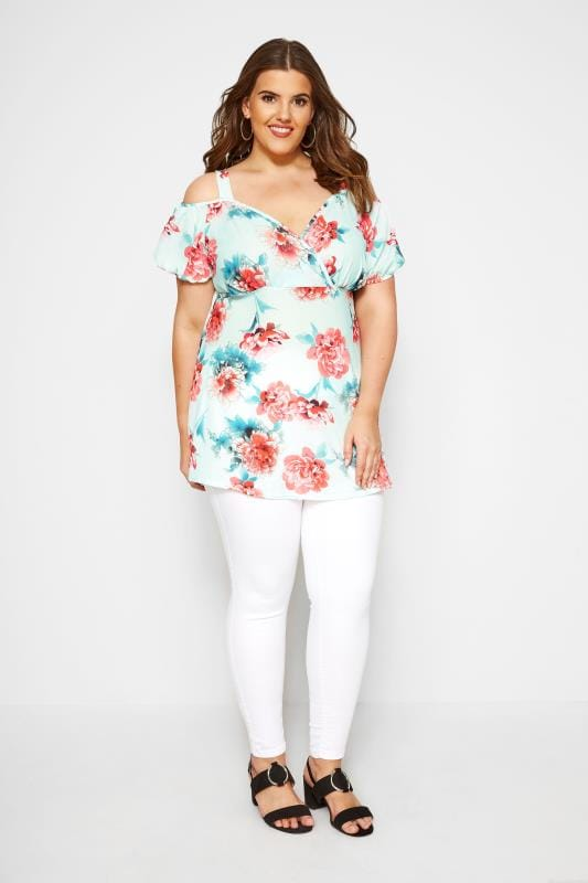 YOURS LONDON Mint Floral Wrap Cold Shoulder Top