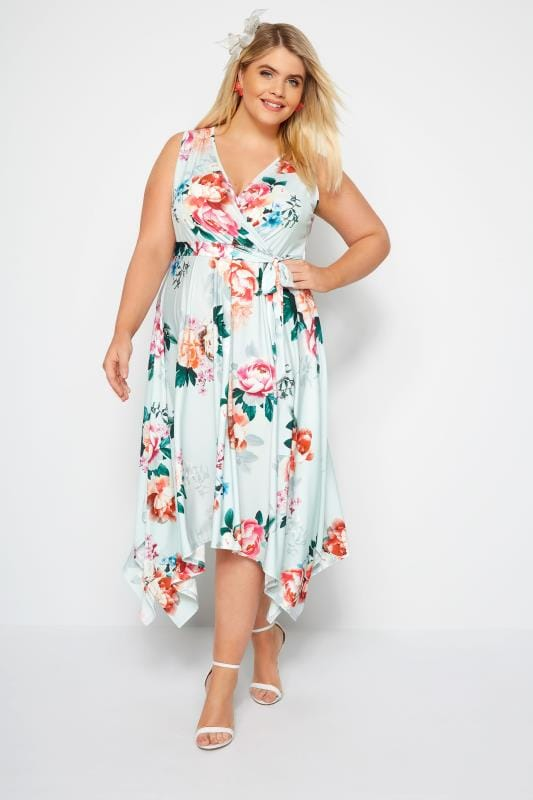 YOURS LONDON Mint Floral Wrap Dress With Hanky Hem