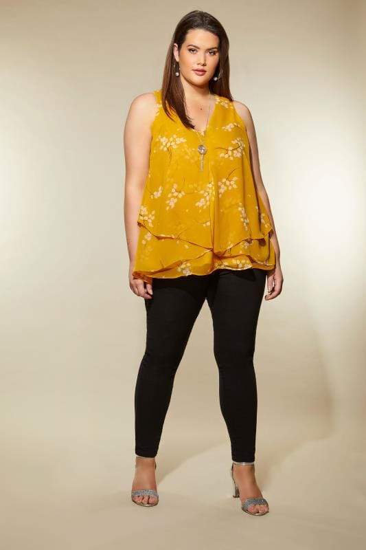 YOURS LONDON Yellow Floral Layered Chiffon Top