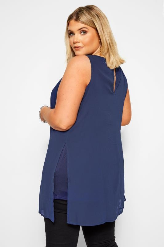 YOURS LONDON Navy Chiffon Tunic