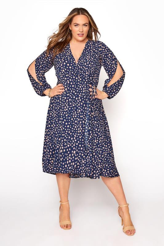 YOURS LONDON Navy Dalmatian Print Wrap Dress_b5f3.jpg