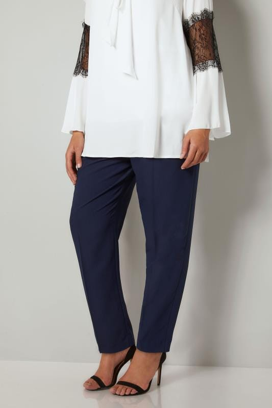 YOURS LONDON Navy Double Pleat Tapered Trousers