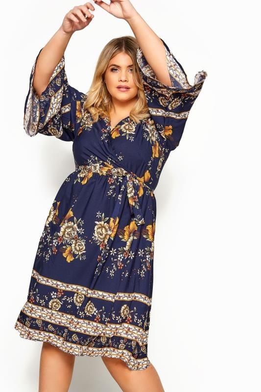 YOURS LONDON Granatowa sukienka z wzorem kwiatowym