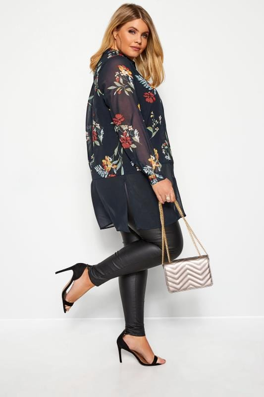 Plus Size Blouses & Shirts YOURS LONDON Navy Floral Chiffon Shirt