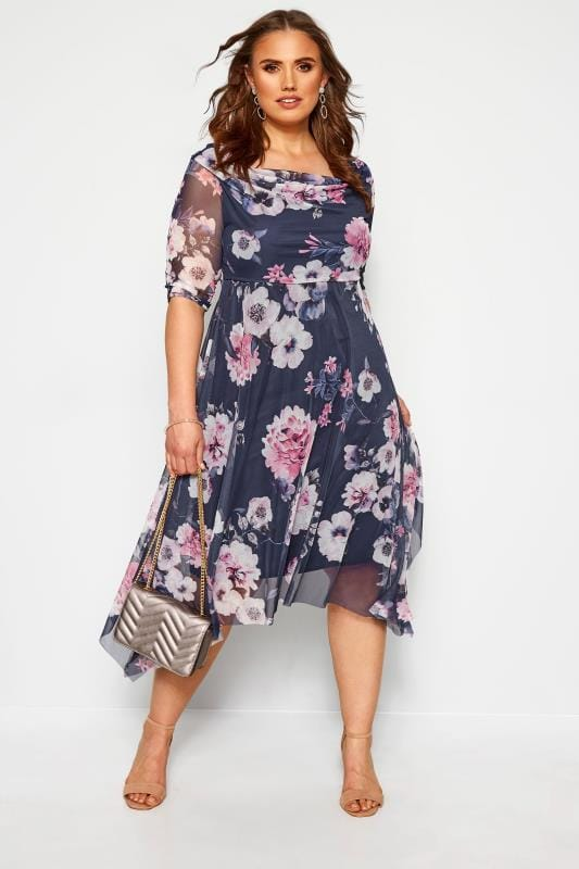 Большие размеры | Floral Dresses YOURS LONDON Navy Floral Cowl Neck Dress
