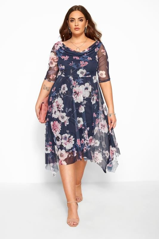 YOURS LONDON Navy Floral Cowl Neck Dress