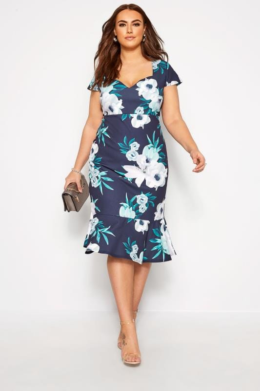 Plus Size Floral Dresses YOURS LONDON Navy Floral Fishtail Scuba Dress