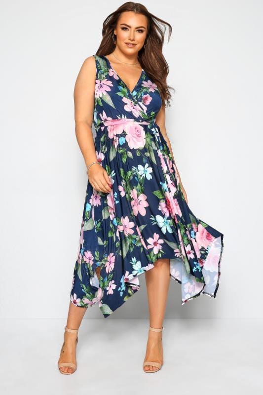 Plus-Größen Floral Dresses YOURS LONDON Navy Floral Hanky Hem Dress