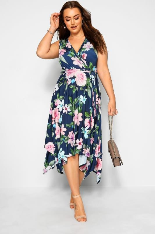 YOURS LONDON Navy Floral Hanky Hem Dress