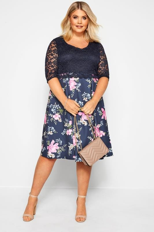 YOURS LONDON Navy Floral Lace Overlay Skater Dress